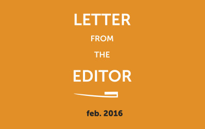 Letter from the editor 2016